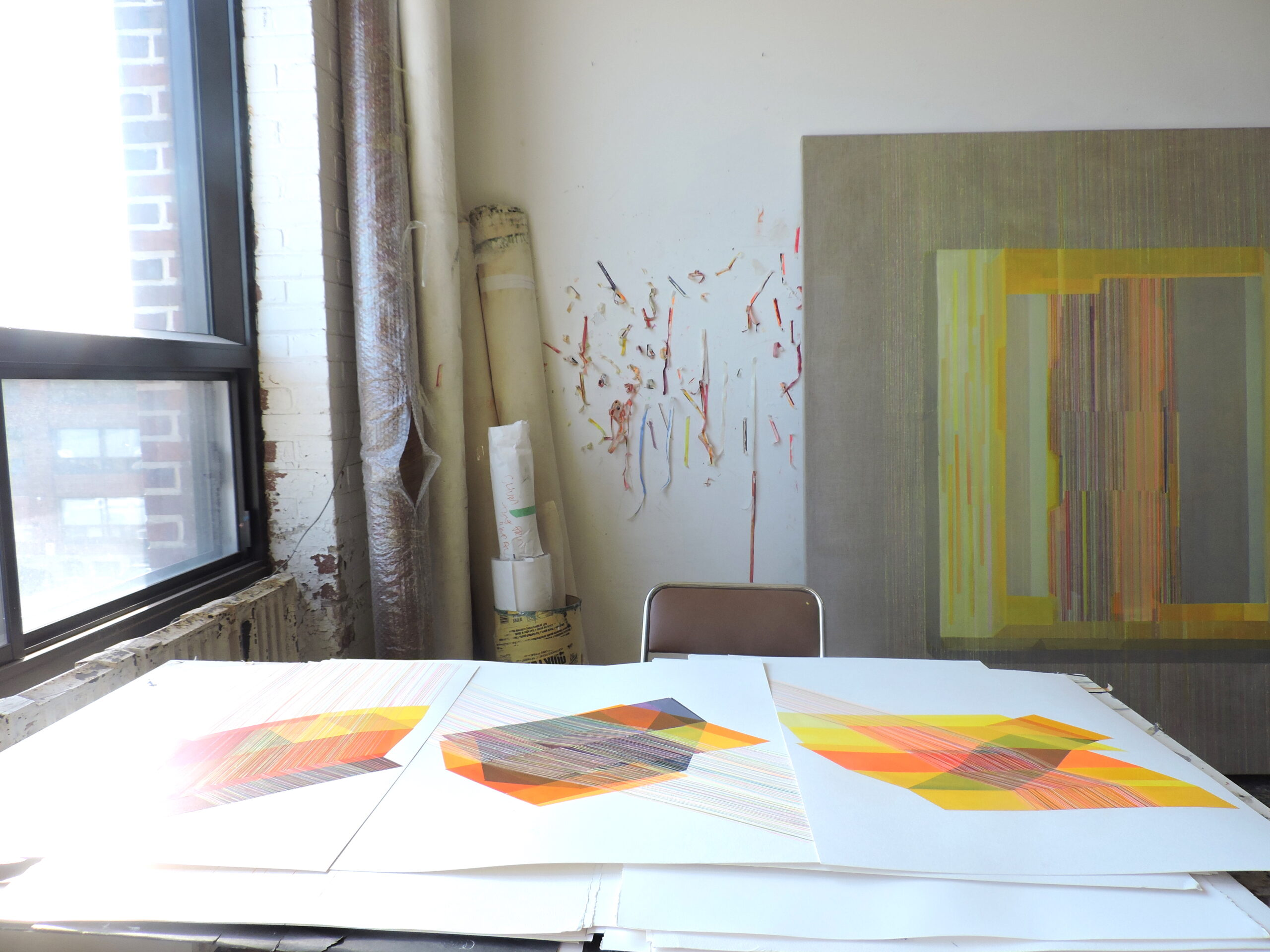 works on paper in studio by Antonietta Grassi.
